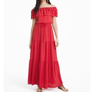 WHBM Coral Red Off Shoulder Maxi Dress Large